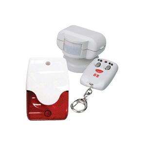 防犯アラーム 防犯センサー 火災センサー 爆音と赤色ランプ発光 リモコンスイッチを押して警報  (防犯シールは付きません)|boohan