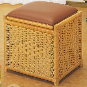 籐収納スツールボックス 角型 籐家具 藤 ラタン家具 籐の椅子 椅子 チェア スツール イス いす 木製 ラタンスツール ラタンチェア 籐椅子|bookshelf