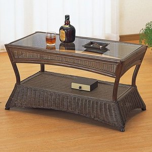 籐家具 ラタン テーブル ガラステーブル リビングテーブル ガラス天板 センターテーブル 収納 コーヒーテーブル 籐リビングテーブル 幅90cm t121b|bookshelf
