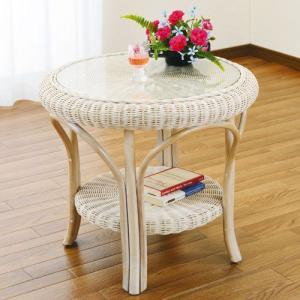 籐家具 ラタン テーブル ガラステーブル リビングテーブル センターテーブル コーヒーテーブル 棚付きテーブル 籐丸テーブル 幅60cm ホワイト t130|bookshelf