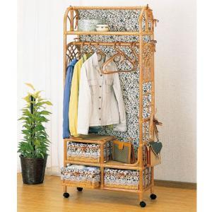 籐家具 ラタン 衣類収納 収納ラック ハンガーラック カバー付き カバー付 引き出し 引き出し付き 籐収納付ハンガーラック 幅75cm w666 bookshelf