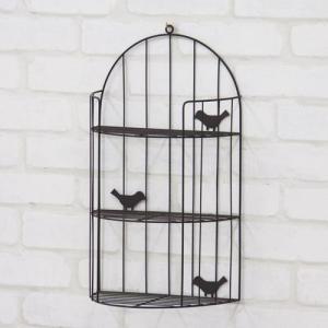 日用品 生活雑貨 かわいい壁掛けバードラック 小鳥付き ブラウン akb-404br bookshelf