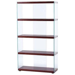 オープンラック ガラス 収納 インテリア ハブ ブラウン 幅83cm高さ150cm ラック シェルフ ディスプレイラック コレクションラック フィギュアラック|bookshelf