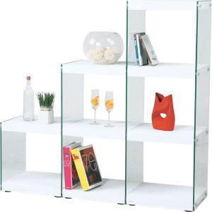 オープンラック ガラス 収納 インテリア 階段 ラック ハブ 幅123cm高さ121cm 3段 ホワイト シェルフ ディスプレイラック コレクションラック フィギュアラック|bookshelf