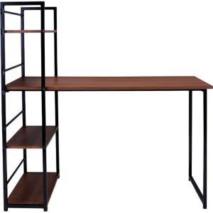 デスク 机 棚付デスク 幅120cm ブラウン pt-461br bookshelf