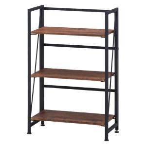 折りたたみオープンラック 幅60cm高さ93cm 3段 esta エスタ シェルフ シンプル 木目調 棚付き 組立不要 完成品 スチール インダストリアル 折り畳み|bookshelf
