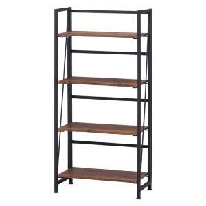 折りたたみオープンラック 幅60cm高さ125cm 4段 esta エスタ シェルフ シンプル 木目調 棚付き 組立不要 完成品 スチール インダストリアル 折り畳み|bookshelf