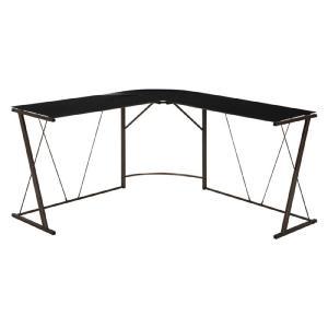L字型ガラス天板パソコンデスク 幅141cm テーブル 机 ワークデスク コーナーデスク 機能性デスク シンプル モノトーン 強化ガラス コードホルダー|bookshelf