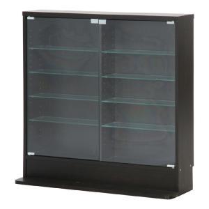 本収納 収納ラック ガラスコレクションケース ロータイプ 浅型|bookshelf