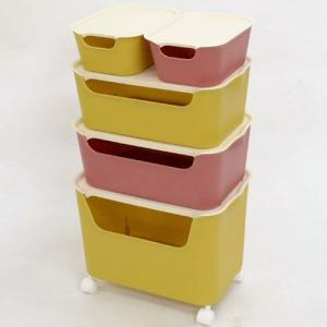 収納ボックス5個セット L1個+M2個+S2個 カタス キャスター付 本|bookshelf