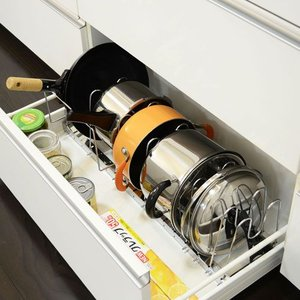 キッチン用品 食器 調理器具 伸縮式鍋 フライパンラックB おしゃれ 安い|bookshelf
