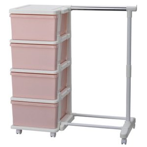 ハンガーラック付き収納ケース カラーシーズユニット4段 収納ボックス 引き出し ハンガーラック 組立式 衣類ケース 収納BOX 衣類収納 収納チェスト ピンク|bookshelf