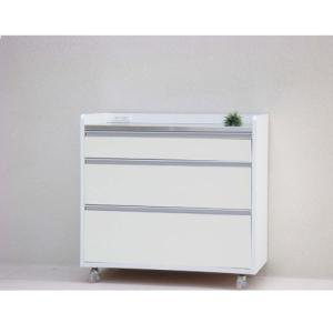ステンレス天板キッチンカウンター 幅93cm キャスター付 パレス ホワイト ga-pc-co-90-wh|bookshelf