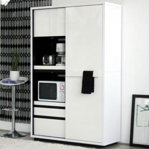 引戸レンジ台兼食器棚 幅118cm高さ184cm シュール ga-su-kb-120-wh|bookshelf