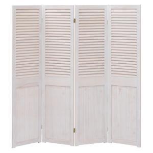 木製パーテーション 4連 シャビーウッド アンティークホワイト|bookshelf