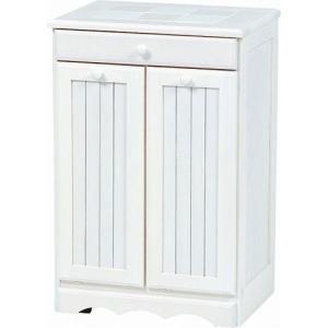 ごみ箱内蔵薄型キッチンカウンター 隠しキャスター付き 幅47cm高さ70cm ホワイトウォッシュ MUD-3556WS hg-mud-3556ws|bookshelf