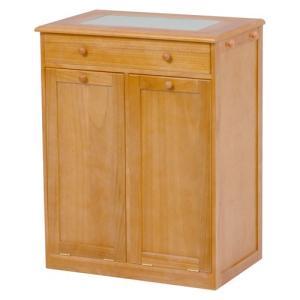 ごみ箱内蔵薄型キッチンカウンター 隠しキャスター付き 幅62cm高さ81cm ナチュラル MUD-6258NA hg-mud-6258na|bookshelf