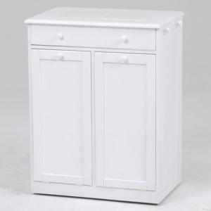 ごみ箱内蔵薄型キッチンカウンター 隠しキャスター付き 幅62cm高さ81cm ホワイト MUD-6258WH hg-mud-6258wh|bookshelf