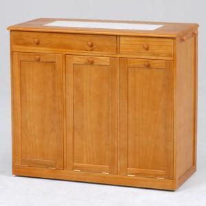 ごみ箱内蔵薄型キッチンカウンター 隠しキャスター付き 幅91cm高さ81cm ナチュラル MUD-6259NA hg-mud-6259na|bookshelf