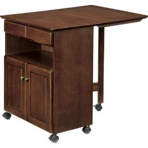 食器棚収納 レンジ台 カウンター バタフライテーブルワゴン ブラ|bookshelf