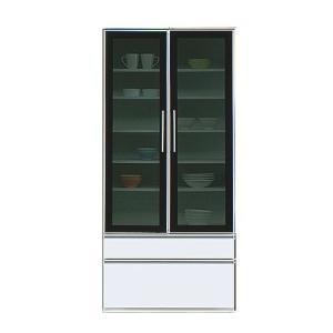 完成品 食器棚 ダイニングボード 収納 引出し 可動棚 リニアII 幅80cm高さ180cm ホワイト 食器収納 食器ラック キッチンラック キッチン収納 キッチン|bookshelf