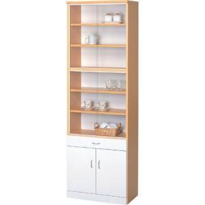 食器棚 幅60 引き戸 幅60cm高さ180cm ナチュラル×ホワイト キッチンラック キッチン収納 キッチン収納棚 キッチン家具 キッチンボード キッチン収納庫 キッチン|bookshelf