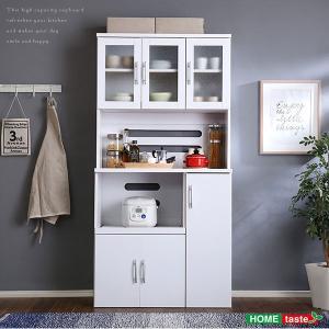 ホワイト食器棚 パスタキッチンボード 幅90cm×高さ180cm 食器棚 キッチンボード レンジ台 レンジボード レンジラック 大量収納 調理器具 電子レンジ 炊飯器|bookshelf