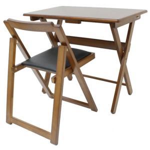 折りたたみ木製デスク&チェアセット ブラウン bookshelf