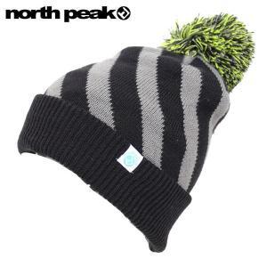 NORTH PEAK NP-9331 ノースピーク ビーニー BEANIE ブラック 黒 グレー 灰色 ストライプ ニット帽 ニットキャップ 帽子|boomsports-ec