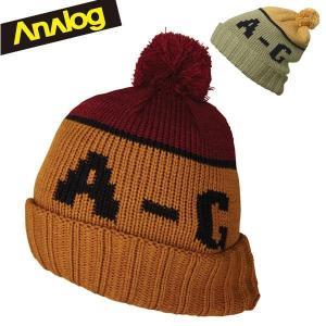 ANALOG アナログ ニット帽子 ENDORSE BEANIE 10855100 LEATHER BROWN/MASH GREEN スキー スノーボード アクセサリー|boomsports-ec