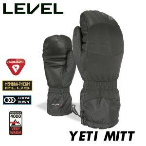 18-19 レベル イエティ ミトン LEVEL YETI MITT BLACK S-XL ユニセックス 男女兼用 グースダウン グローブ|boomsports-ec