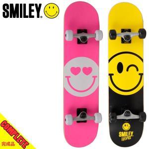 スマイリー スケートボード コンプリート 完成品 SMILEY HAPPY/LOVE 30.5in×7.5in 初心者 入門者 スタンダード|boomsports-ec
