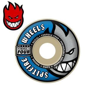 スピットファイヤー ウィール SPITFIRE WHEELS FORMULAFOUR RADIAL WSP9-E WHITE/BLUE 52mm 99DURO スケボー 部品 スケートボード タイヤ|boomsports-ec