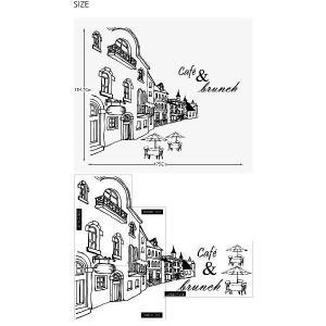 ウォールステッカー 転写式タイプ ヨーロッパのカフェ通り|bora|02