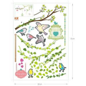 ウォールステッカー シール はがせる 壁 北欧 鳥と木|bora|06