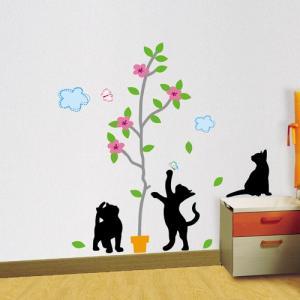 ウォールステッカー アニマル 動物 どうぶつ シール 北欧 黒い猫と植木鉢|bora