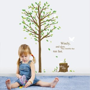 ウォールステッカー 壁 木 背高い木と鳥 貼ってはがせる のりつき 壁紙シール ウォールシール 植物 木 花|bora