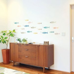 ウォールステッカー シール はがせる 壁 北欧 魚|bora