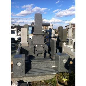 墓石 青御影石 石塔1尺30cm 外柵180cm角 高2.0m 墓石|bosekinodaimon