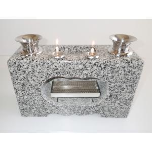 墓石 香炉 花立 ロウソク立付一体型 白御影石|bosekinodaimon