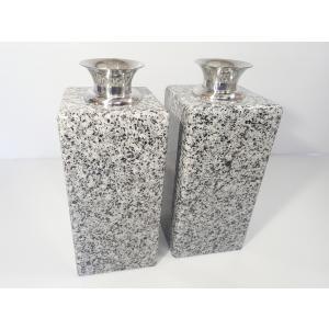 墓石 花立 白みかげ石 2個セット|bosekinodaimon