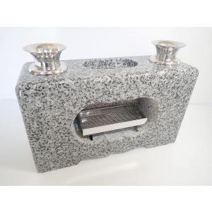 墓石 香炉 花立 線香皿付 白御影石|bosekinodaimon
