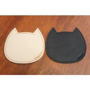 BOSSA ねこ型 コースター ヌメ革製 牛革製 本革製 レザー 日本製