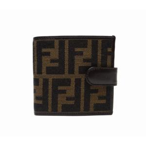 FENDI フェンディ ズッカ柄 二つ折り財布 ブラウン<USED>美品【送料無料】|bossfull