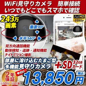 防犯カメラ 家庭用 見守りカメラ C6TC 1台 WI-FI対応 赤ちゃん ペット スマホ 遠隔監視 SDカードセット  簡単接続 あすつく 1080P