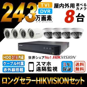 世界のHIKVISION(ハイクビジョン)防犯カメラセット HD-TVI 243万画素 屋外用 監視カメラ 屋外用カメラ スマホ対応 録画機能付き 8CH 3TB HDD  TVI-SET-CAM8-3TB