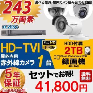 世界のHIKVISION(ハイクビジョン)防犯カメラセット HD-TVI 243万画素 屋外用 監視カメラ×1台 スマホ対応 録画機能付き 4CH 2TB HDD  tvi-set1-d4c12tb-hik