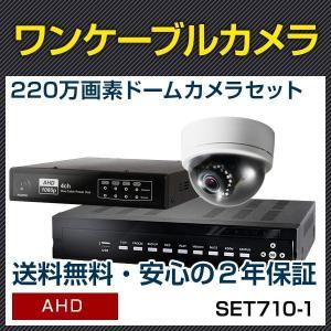 防犯カメラ ワンケーブル セット ドーム 屋内 暗視機能 カメラ1台 レコーダー 220万画素 屋内 ドーム 暗視 遠隔 2000GHDD 2年保証セット(SET660-1) |bouhansengen