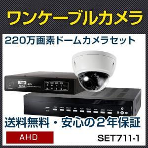 ワンケーブルカメラ 屋外 ドーム 1台 セット 録画 暗視 レコーダー 220万画素 屋外防滴 ワンケーブル 監視カメラ 遠隔監視 レコーダーセット (SET661-1)|bouhansengen