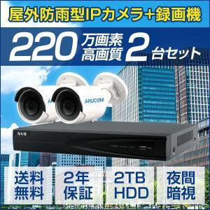 IPカメラ PoE セット 屋外 カメラ2台 レコーダー 220万画素 屋外 IP バレット 防犯カメラ 監視カメラ 暗視 遠隔監視 レコーダーセット(SET664-2)|bouhansengen